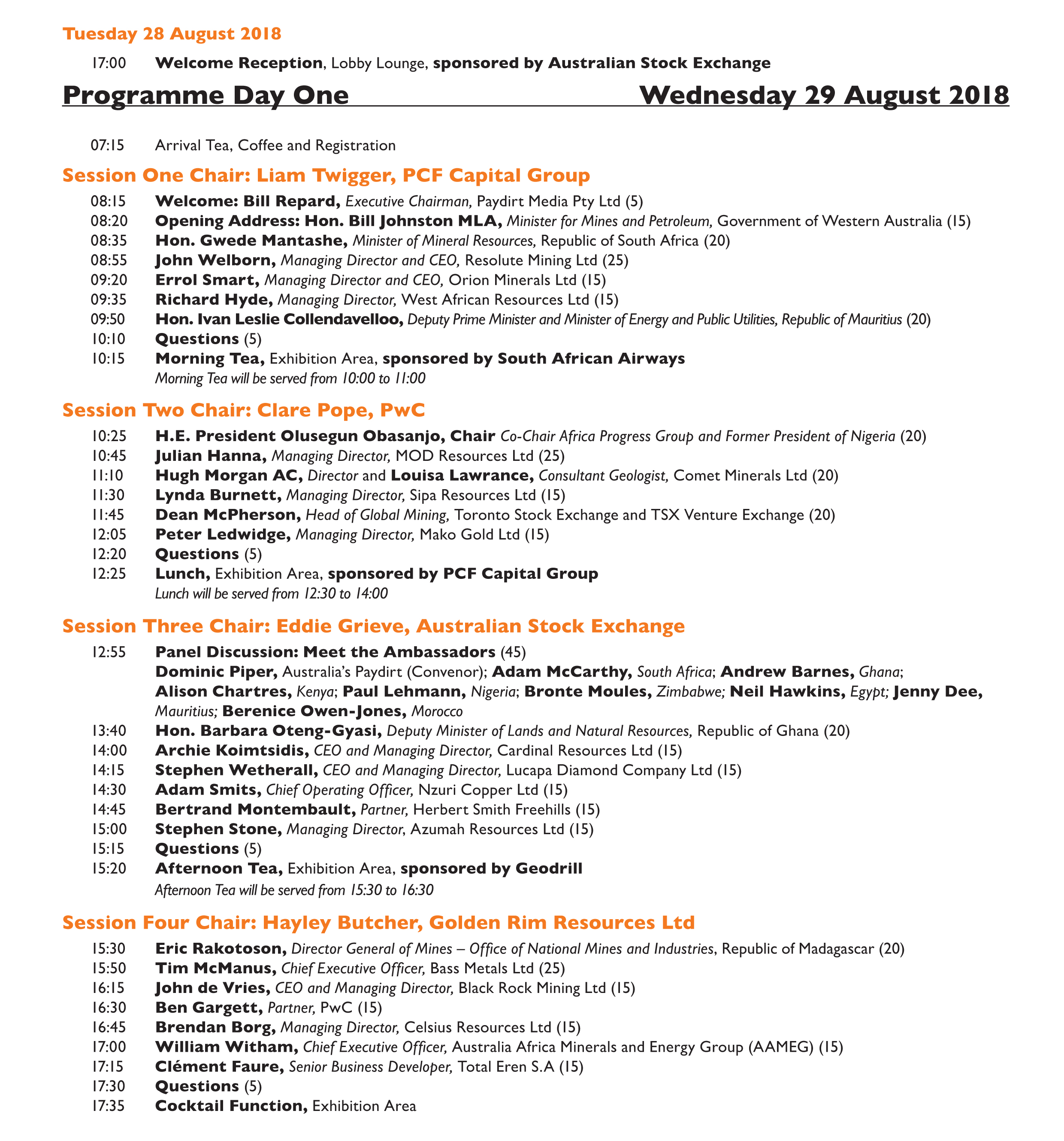 2018 Conference Programme - Africa Down Under